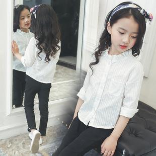 2017春款女童衬衫长袖上衣韩版纯色中大童衬衣圆领荷叶边一件代发