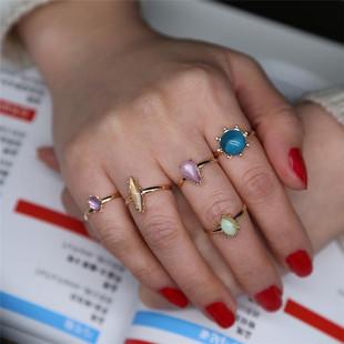 速卖通新款 多彩仿石糖果5件套组合戒指 开口可调节