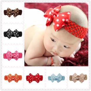 婴幼儿发带新品速卖通圆点蝴蝶结发带 宝宝外贸头饰 现货批发