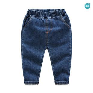 儿童牛仔裤男童针织裤子 2017婴童春装新款童装宝宝百搭纯色长裤