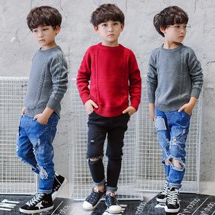 厂家直销童装批发2017秋冬新款韩版中大儿童男童毛衣一件代发