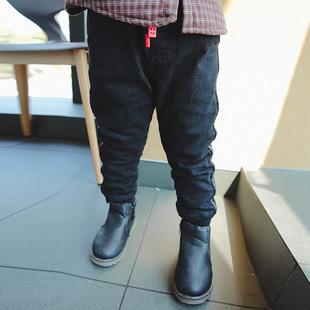 2017冬季童装 韩版男童裤子 新款加绒儿童牛仔裤潮款字母男童长裤