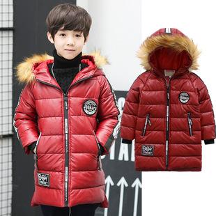 童装男童2017深秋季时尚新款韩版中大童男童羽绒PU棉衣pu外套一件