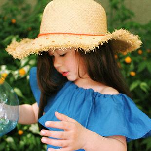 夏季高端大气时尚女士韩版遮阳防紫外线大沿拉菲草毛边草帽