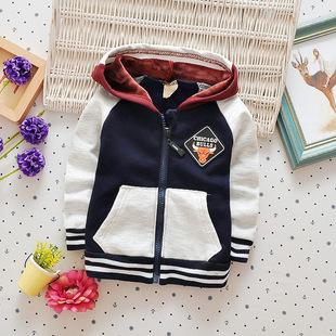 2018秋冬新款加绒开衫婴幼儿男童宝宝卡通拉链复合绒帽衫加厚外套