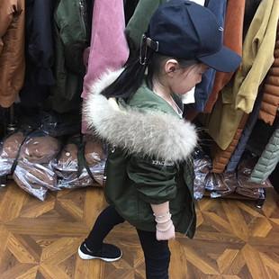 2017年新款韩版男女儿童装镰刀款羽绒服加厚大毛领连帽宽松刺绣