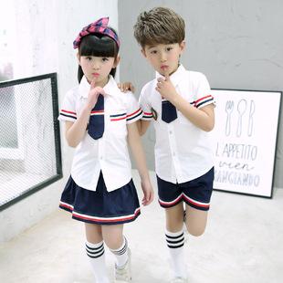 2017校服 舞蹈表演服 女童套装 男童套装 女童学院风套装