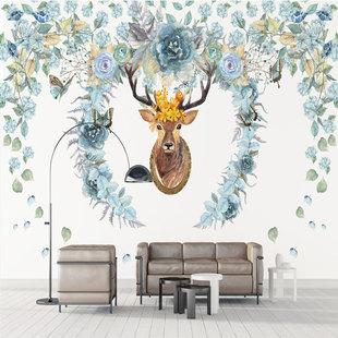 梦硕北欧手绘花卉大型壁画麋鹿电视背景墙壁纸定制客厅沙发墙布