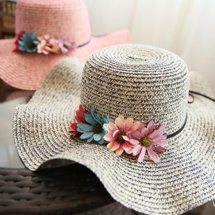 帽子女夏天遮阳帽防晒太阳帽韩版大沿草帽女花朵波浪沙滩帽子海边