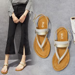 女鞋夏季凉鞋2017新款人字拖女平底夹趾沙滩鞋一字扣波西米亚凉鞋