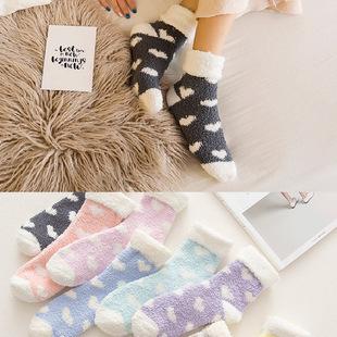 袜子女加厚加绒保暖珊瑚绒睡眠袜毛巾袜秋冬款毛绒中筒孕妇地板袜