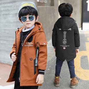 童装男童冬款夹棉连帽外套中大童2017新款韩版时尚中长款风衣棉服