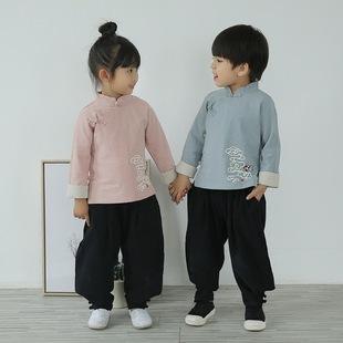 男童汉服国学服装中国风儿童唐装演出服女童棉麻宝宝秋装长袖套装