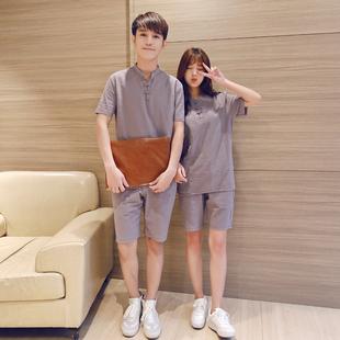 2017新款情侣装情路装男女短袖T恤衫夏日韩版学生夏装套装TZ38P60