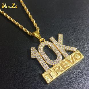 中国有嘻哈 10K TREVO项链 速卖通外贸嘻哈男士吊坠套装饰品
