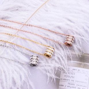 новый корейский опустошается, три слоя бурение коротких колье моды пункта продажи розового золота ожерелья девочек титановая сталь