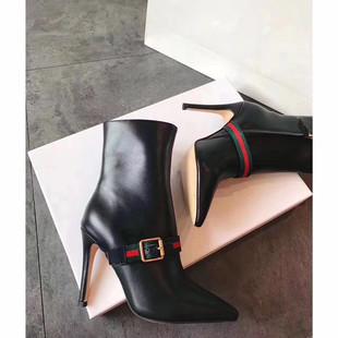 17新款时装女靴欧美时尚超高跟中筒靴女尖头细跟性感真皮马丁靴