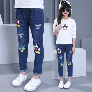 淘宝一件代发童装 中大童春款牛仔裤 新款女童长裤 韩版童牛仔裤