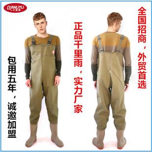 厂家直销正品下水裤 包用5年不渗漏 防水连体雨鞋针织布钓鱼服A
