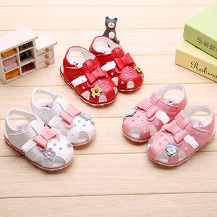 宝宝鞋婴儿鞋学步鞋春秋软底女小童休闲鞋带闪灯一件代发品牌童鞋