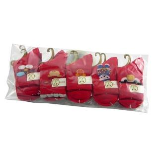 朗将17年秋冬新款儿童鸿运棉袜6602系列10双1-4岁红色单包