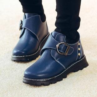 2017冬季新款儿童真皮棉鞋 男童真皮休闲马丁靴加绒童靴一件代发