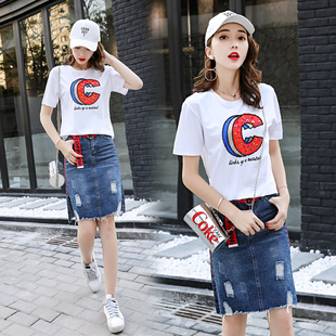 一步裙时尚牛仔裙休闲潮流优雅字母创意2017年夏季套装/套裙短袖