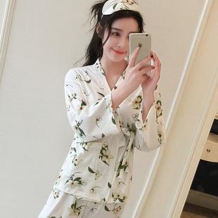 睡衣女秋季纯棉长袖清新印花甜美日式和服浴袍睡衣家居服套装秋冬