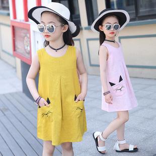 女童夏装连衣裙2017夏季中大童背心裙韩版儿童装新款棉麻公主裙子