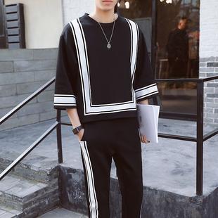 休闲套装男春季潮男撞色跑步服休闲复古中国风卫衣B805P55