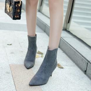 2017新款短靴女高跟女鞋秋冬细跟靴子尖头单靴裸靴磨砂