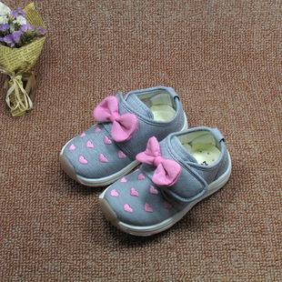 足圣童鞋秋季宝宝鞋女童鞋子蝴蝶结公主鞋婴儿学步鞋女孩儿机能鞋