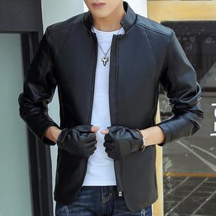 男士皮夹克 秋季修身韩版青少年机车皮衣男学生帅气潮流外套