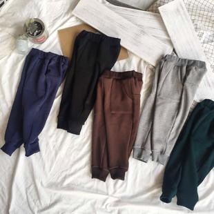 HSENTING 17冬季新款韩版小童舒适纯棉不倒绒宽松哈伦裤童长裤