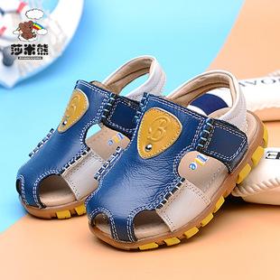2016新款儿童凉鞋 男童真皮沙滩鞋魔术贴休闲包头凉鞋厂家直销