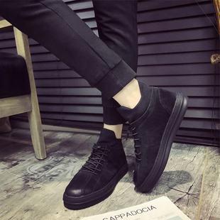 2017新款男鞋秋冬季男士板鞋真皮休闲运动鞋复古潮鞋高帮加绒鞋子