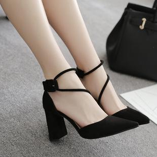 новый корейский сырой с 2017 г - жа мелких рот замшевые туфли на высоких каблуках ноги кольцо повязку сандалии туфли женские туфли 83517