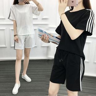2032#运动套装女夏季短袖短裤两件套纯棉卫衣宽松学生休闲服