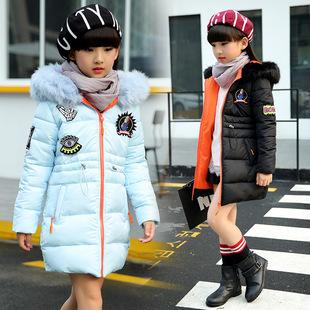 2016冬装新品女童中大童加厚款中长款棉衣外套女孩子毛领连帽大衣
