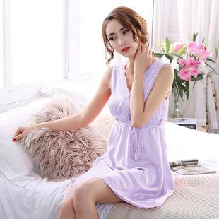 睡衣女夏雪纺无袖冰丝韩版夏季丝绸清新甜美可爱公主夏天学生睡裙