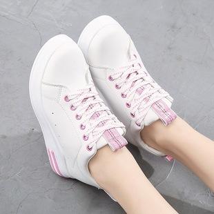 厂家直销2017冬季新款内增高女鞋休闲时尚坡跟鞋子潮流百搭小白鞋