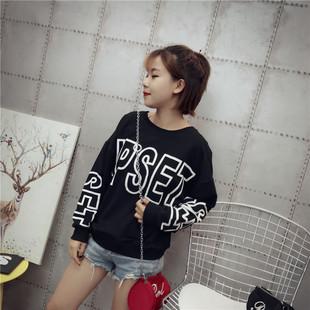 厂家直销 17新款韩版秋季女装 纯棉大字母印花长袖女士卫衣Fleece