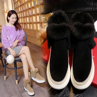 2017韩版爆款真皮真毛女靴圆头坡跟松糕底中筒雪地靴低价包邮