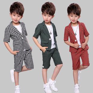 童装韩版休闲格子男童短袖西装英伦儿童小礼服二件套潮8803
