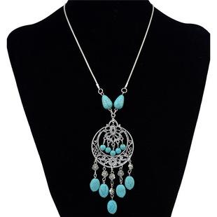 卓日 波西米亚复古风绿松石长款流苏项链 个性镂空仿泰银毛衣链