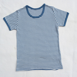 日本西松屋原单儿童条纹休闲T恤海军风男女童圆领短袖上衣批发