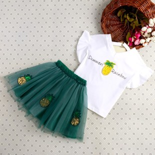 2017夏季新款童装女童韩版文艺碎花吊带连衣裙两件套童装批