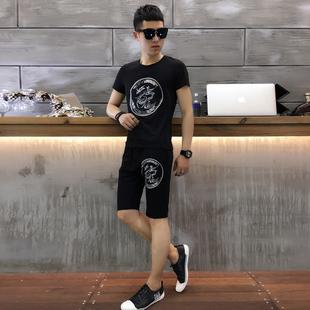 2017夏  潮龙字刺绣绣花烫钻短裤运动套装 黑 星座1116 SA02 p120