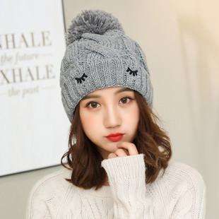 Новые шляпы - осенью и зимой теплую утолщение моды Джокер леди трикотажная шапка имитация глаза поколению жира