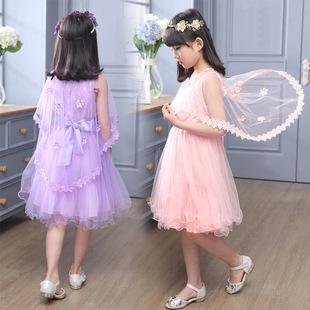 1038女童连衣裙16夏款背心裙夏装演出服纱裙宝宝公主裙送蕾丝披肩